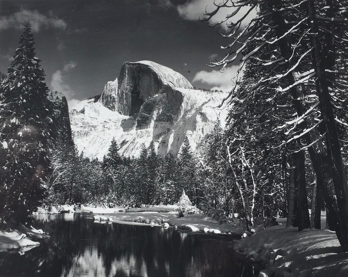 Half Dome, Merced River, Winter 1938 by Ansel Adams