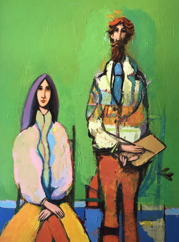 Man With Paint Brush And Palette With Seated Woman 1980 39x51