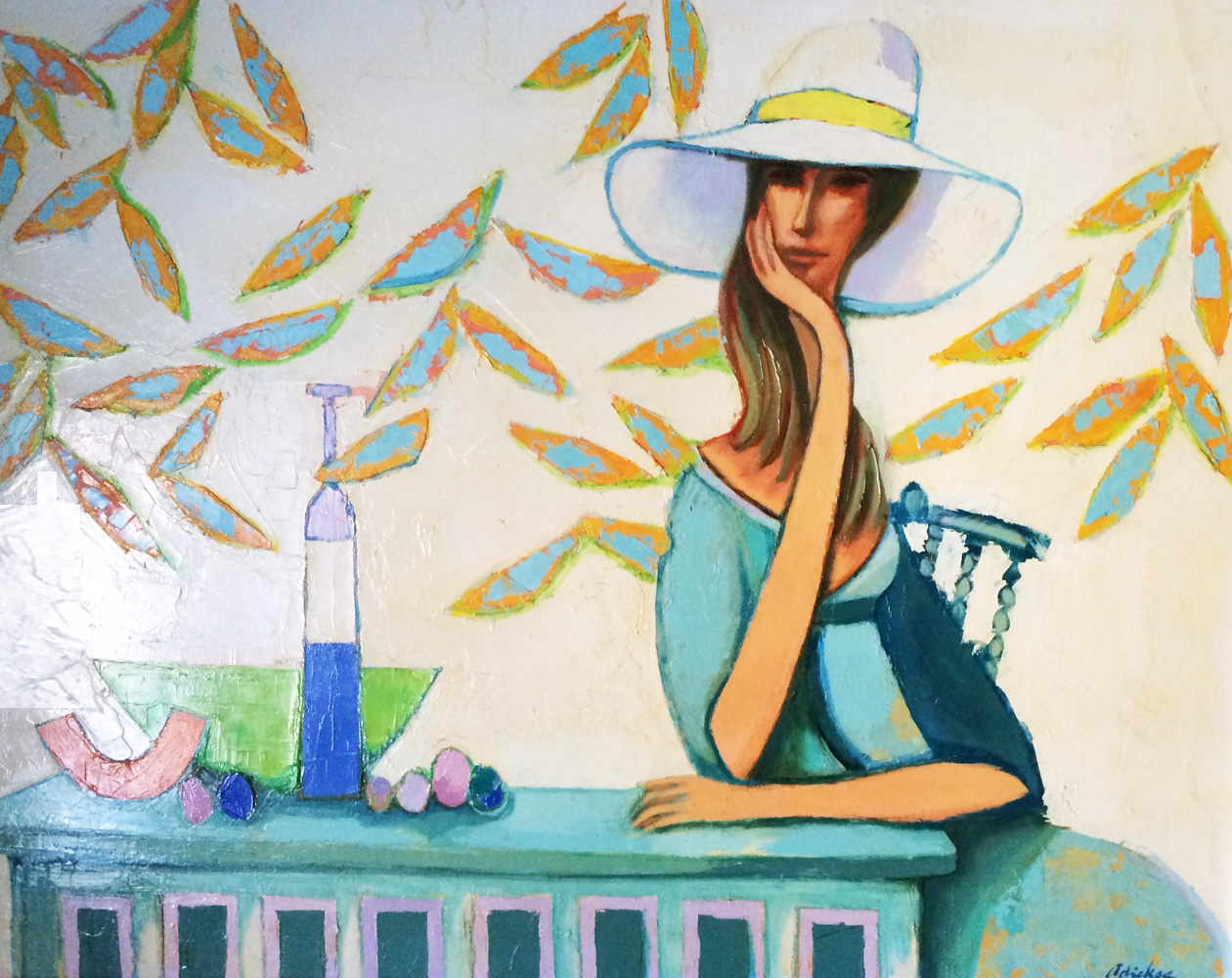 Lady in White Hat 1972 46x36