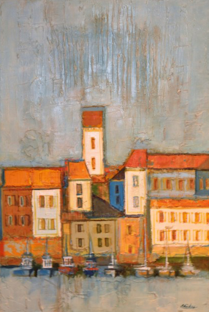 Port Scene in Blues And Orange 1968 35x47