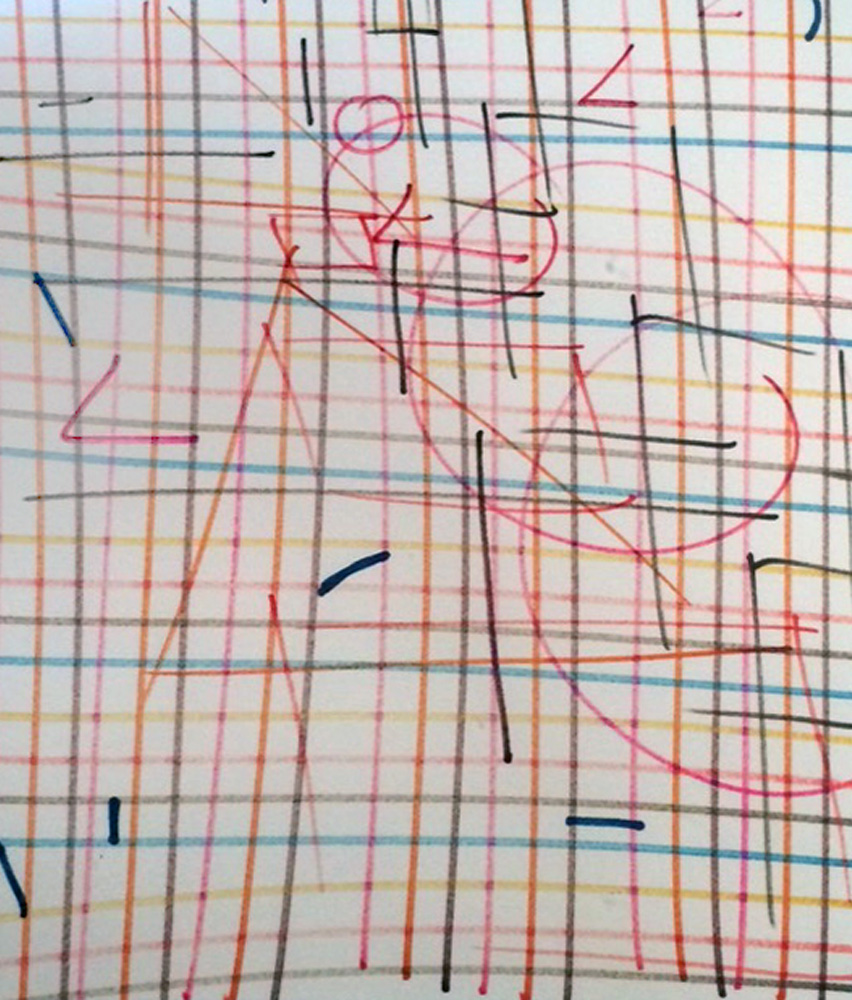 Line Orchestration Number One Drawing 1978 12x12