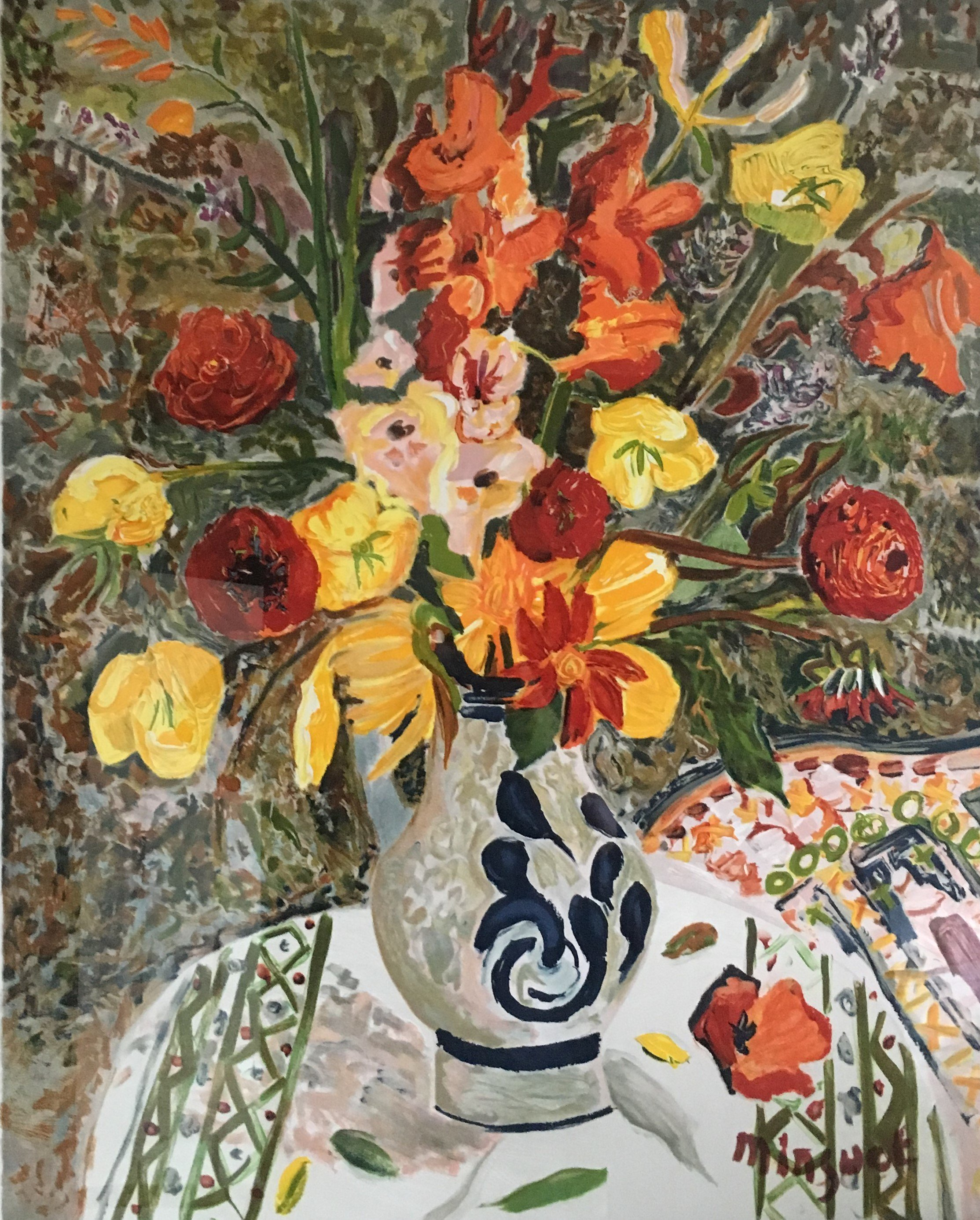 Gladiolas, California Poppies and Marigolds