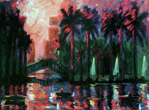 Mystery In The Park diptych AP 1989 34x106
