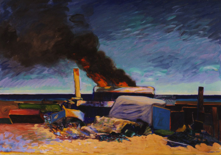 Trash Burning on Venice Beach 1980 50x70