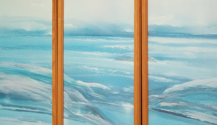 Ocean Seascape, Set of 5 Paintings (Triptych with Two Seascapes)