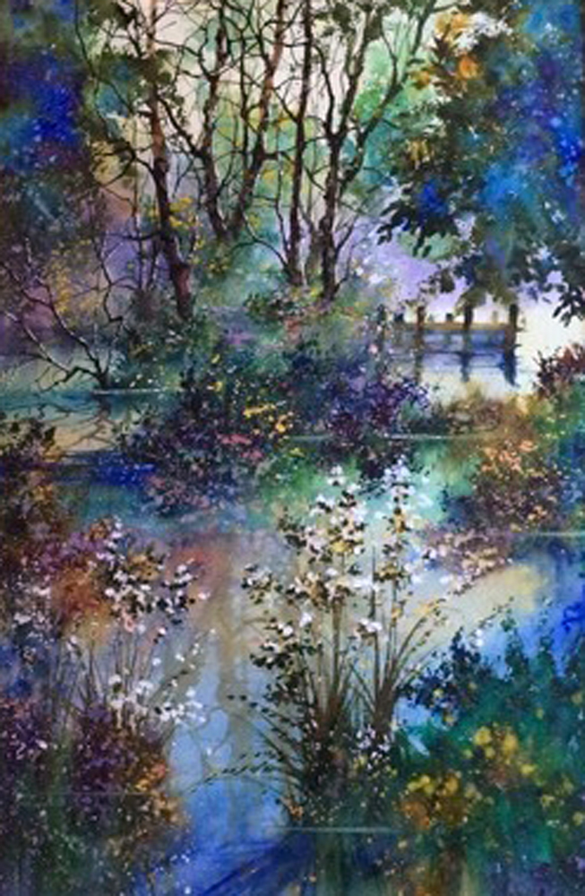 Rising Colors of Spring Watercolor 2001 42x30 by Diane Anderson