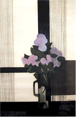 Fleurs Mauve Mixed Media Drawing 1970