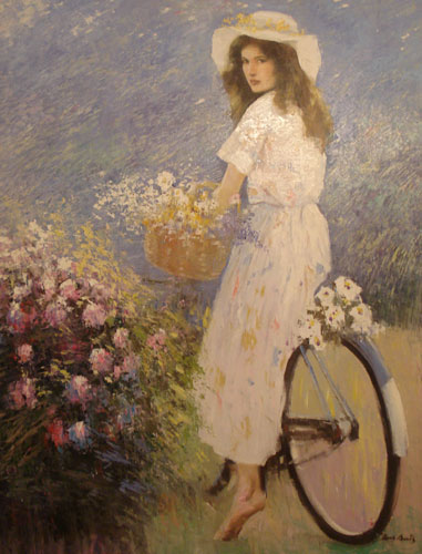 Girl on the Bicycle 45x35