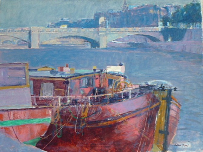 Boat on the Seine River Paris 30x40