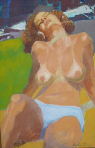 Reclining Topless Woman 30x19