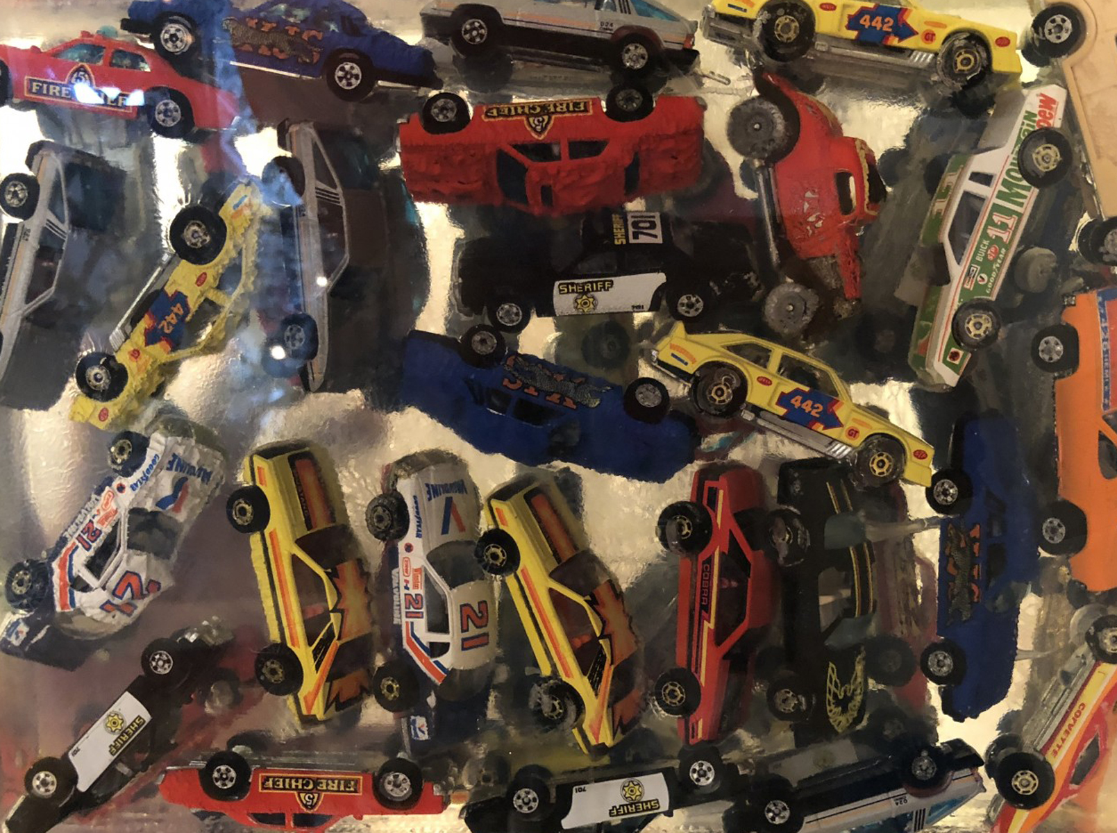 Car Accumulation (Matchbox Cars)  Resin Sculpture 1985 12 in