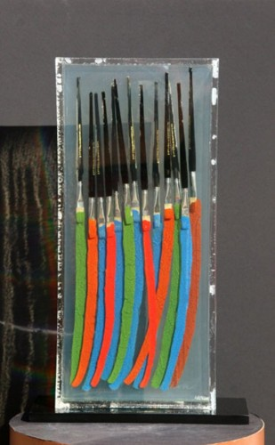 Paintbrushes VI Resin and Oil Paint Sculpture AP
