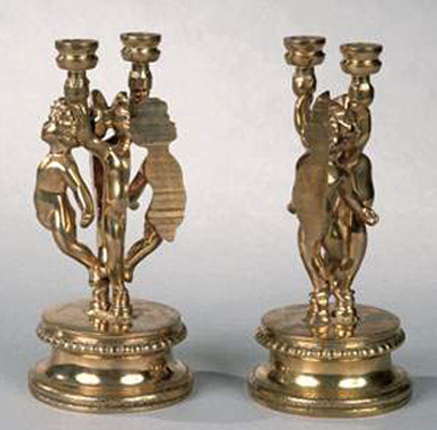 Angelots Bronze Candlesticks 1981