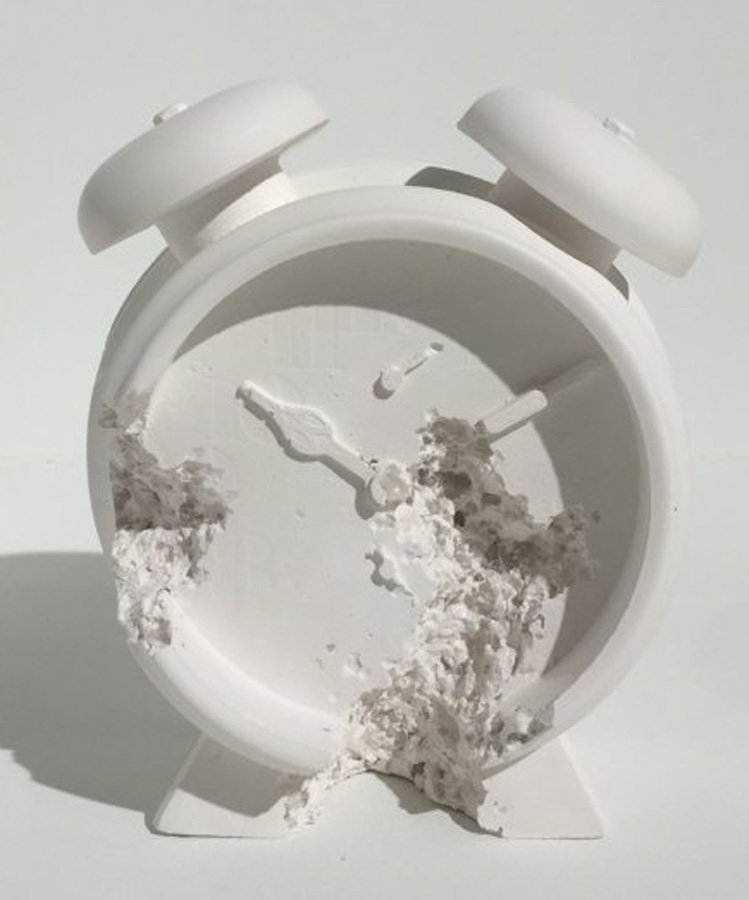Clock (Future Relic Dafr-03) Plaster and Glass Sculpture 2015  5 in  by Daniel Arsham