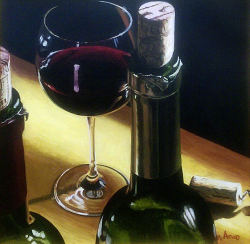 Three Corks, Two Bottles And One Glass of Wine 1997 40x40