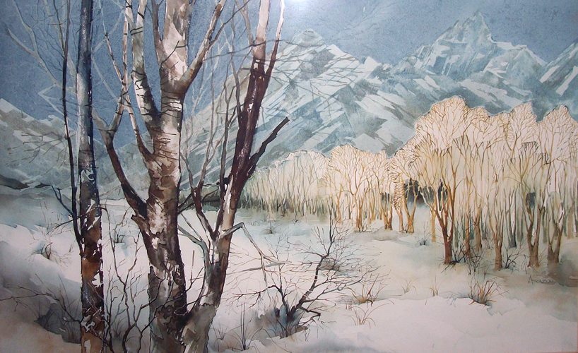 Winter Desert Landscape Watercolor