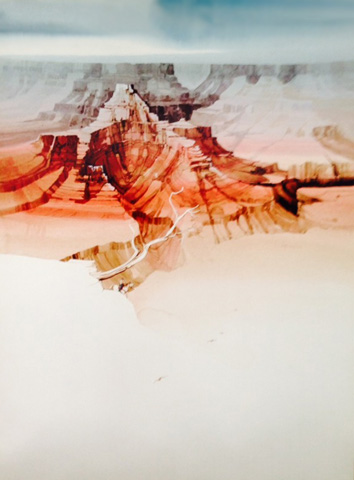Untitled Landscape Watercolor 1990 39x29