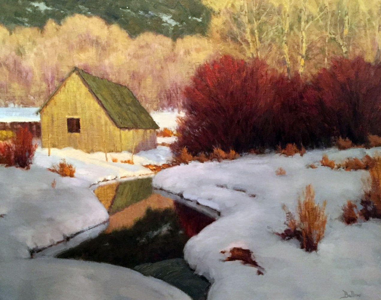 Winter Evening, Emma Creek - Basalt, CO 1996 49x42