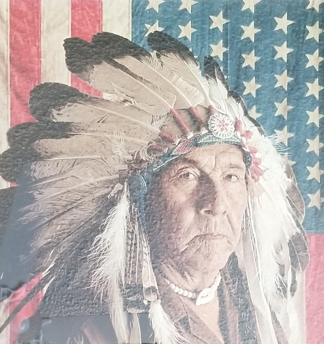 Chester Medicine Crow With His Father's Flag 1972
