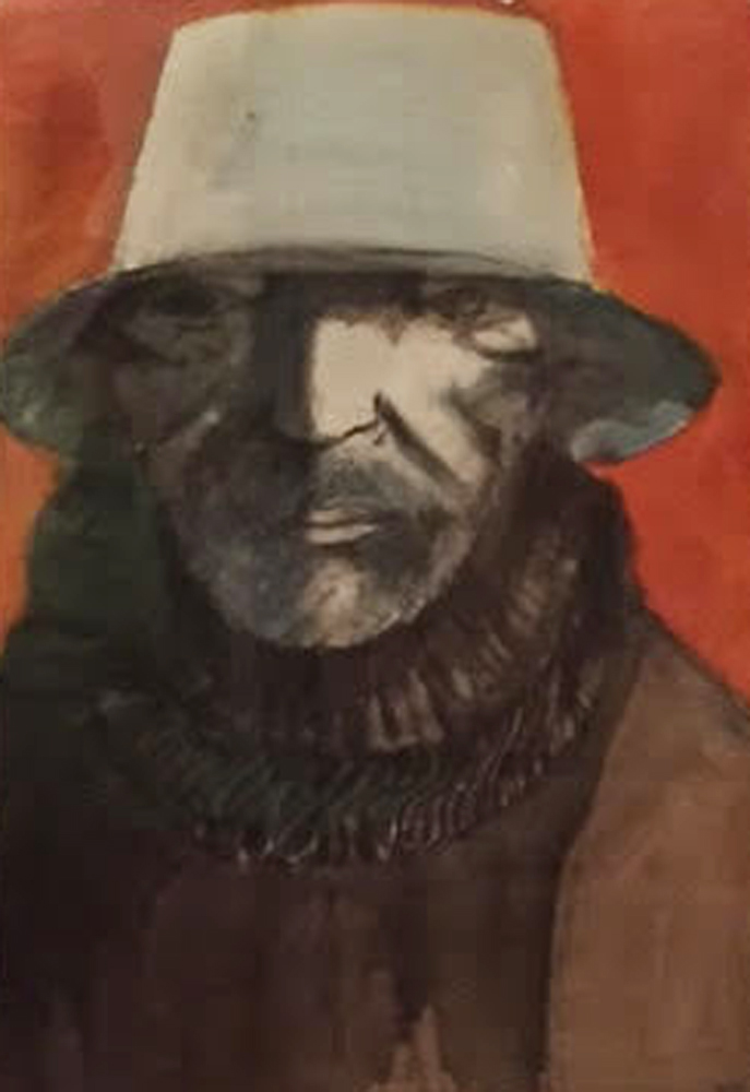 Baskin As Blue Beard Watercolor  1989  32x42