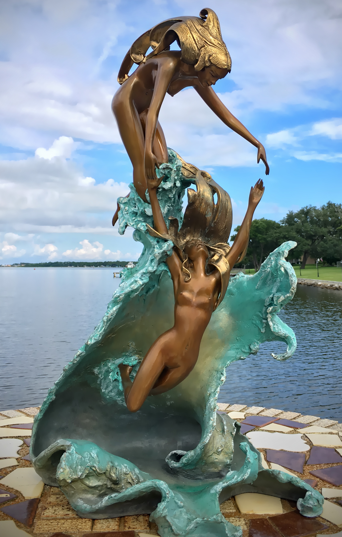 Dancing With Waves Bronze Sculpture 1987 23 in