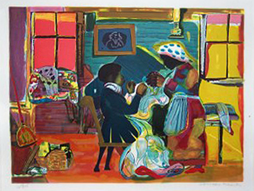 """Quilting Time 1981"" by Romare Bearden"
