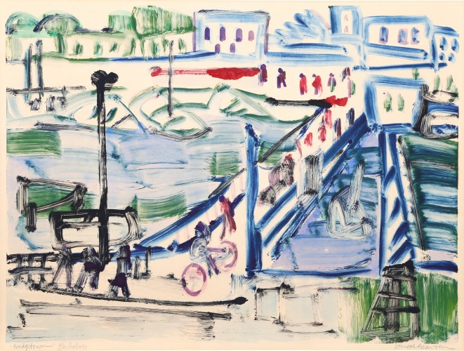 Bridgetown, Barbados Monoprint by Romare Bearden