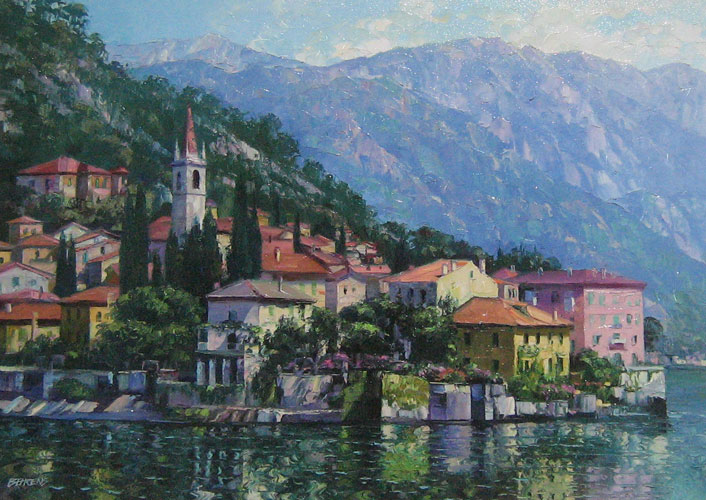 Reflections of Lake Como, Italy w Remarque