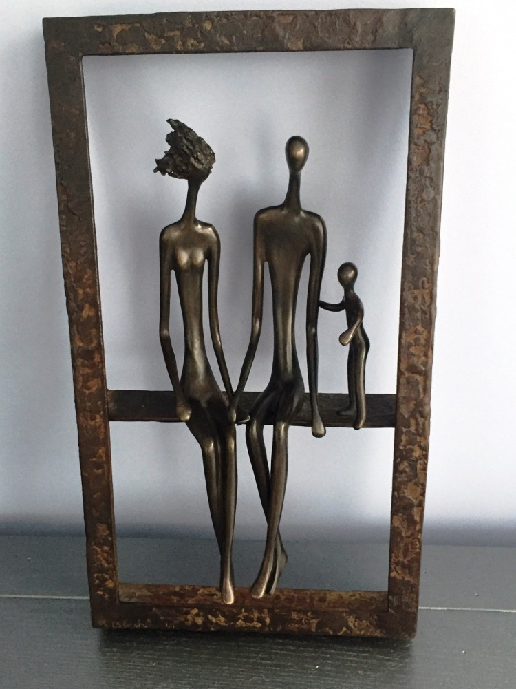 Family of Three Bronze Unique Sculpture 18 in