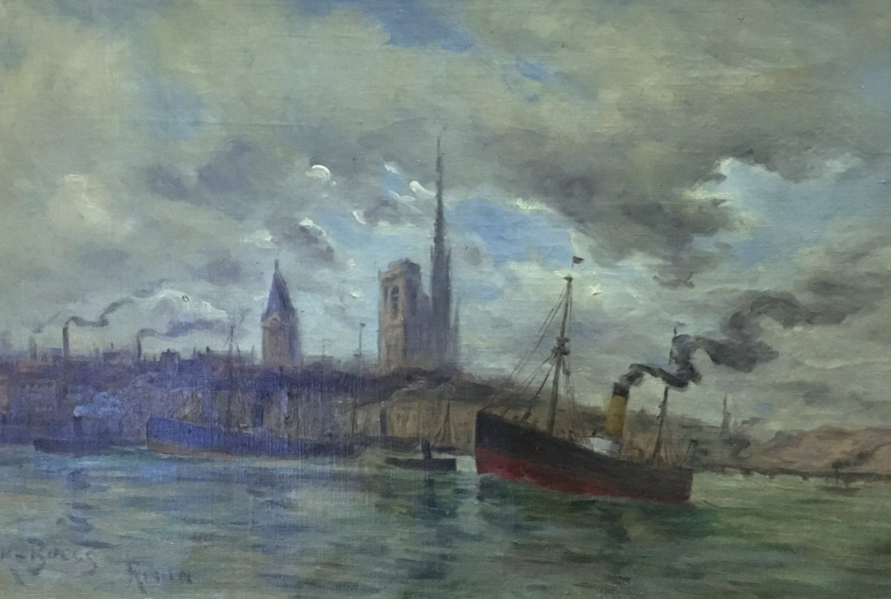 Harbor At Rouen 1900 15x22