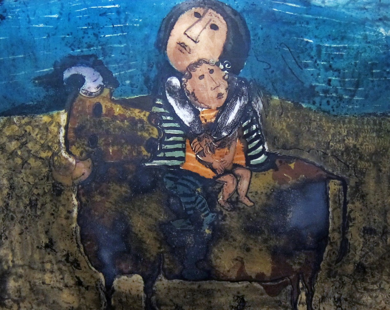 Mother and Child on a Bull 1960 (Early)