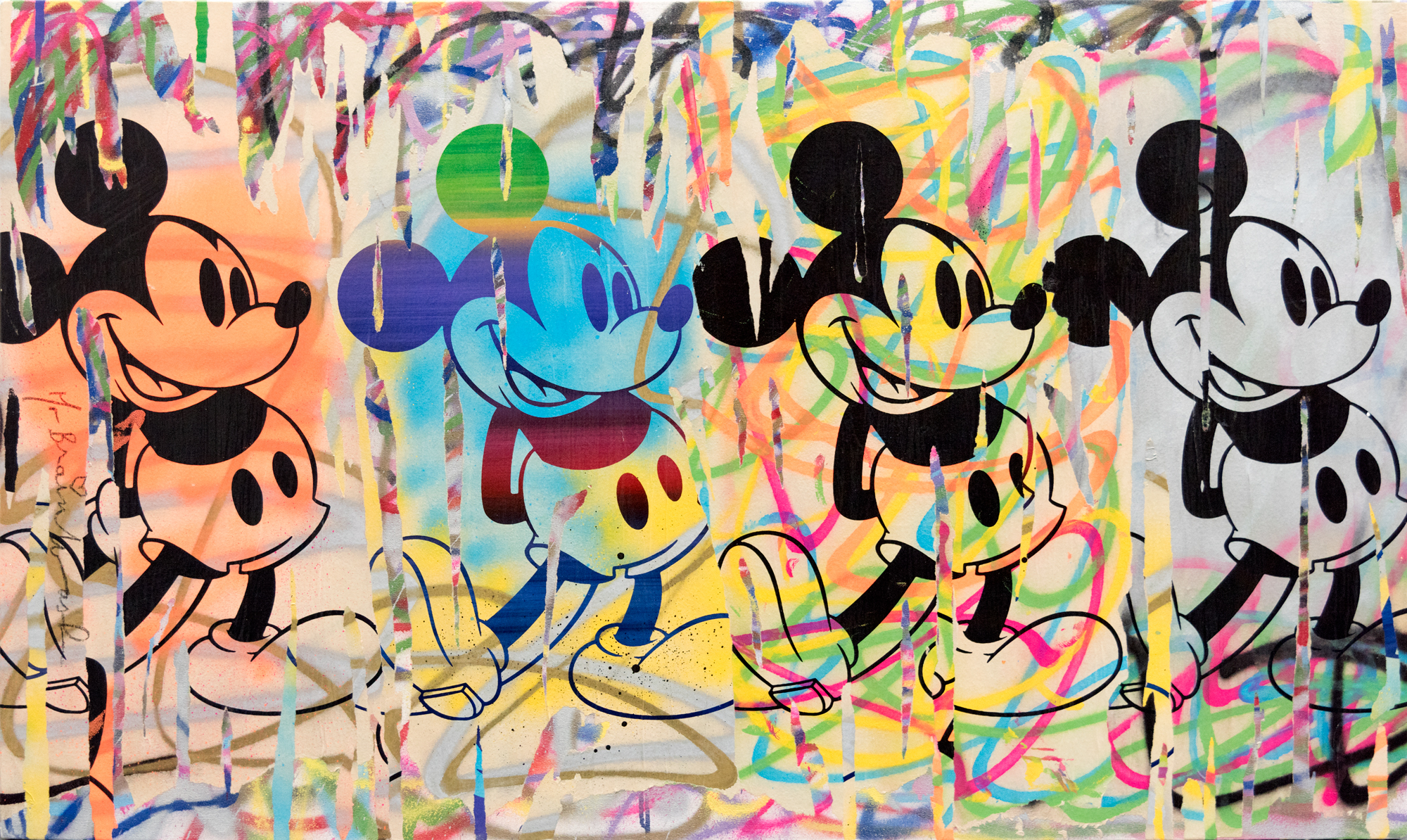 Mickey (4 Mickeys) Mixed Media on Canvas