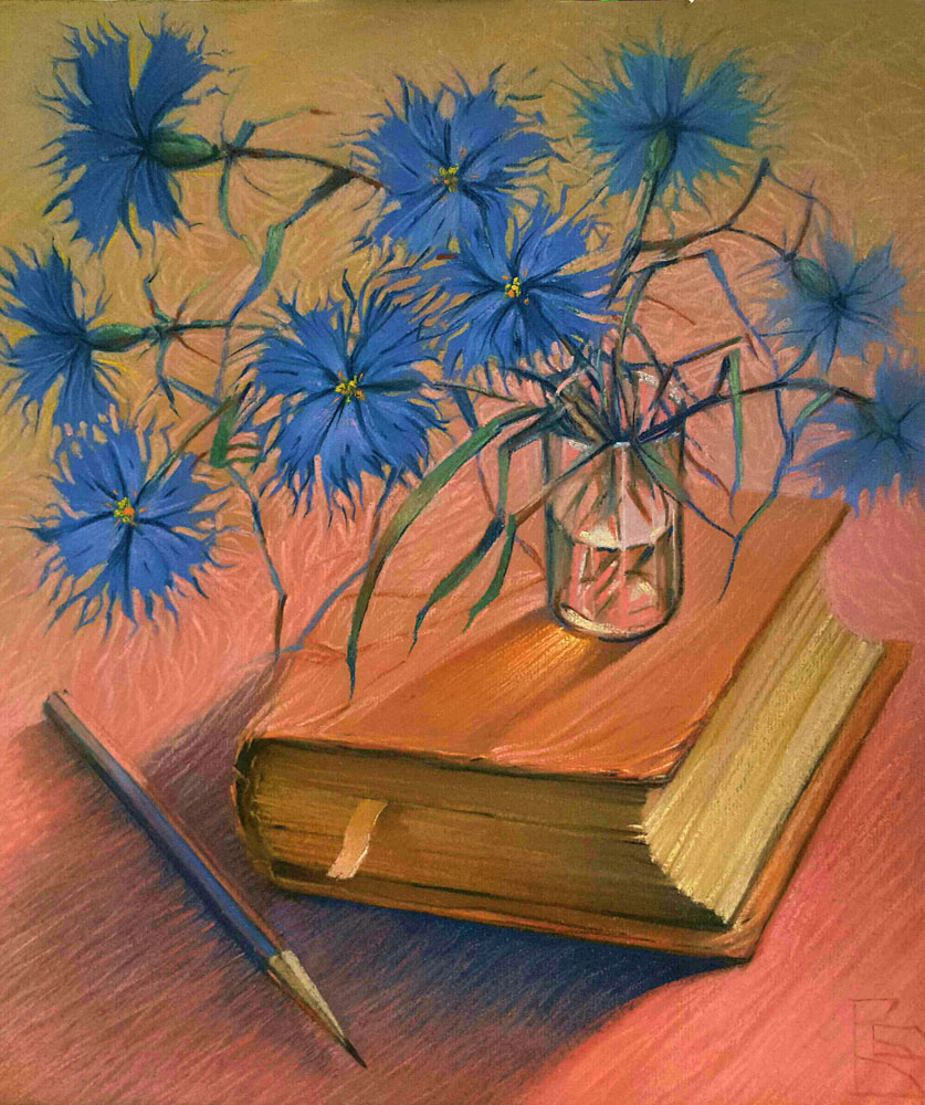 Still Life With Book And Cornflowers 1997 18x16