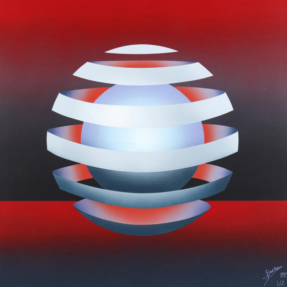 Untitled - Floating Orb on Red 1979 31x31
