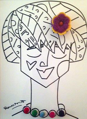 Yellow Flower Girl 2012 18x24 by Romero Britto