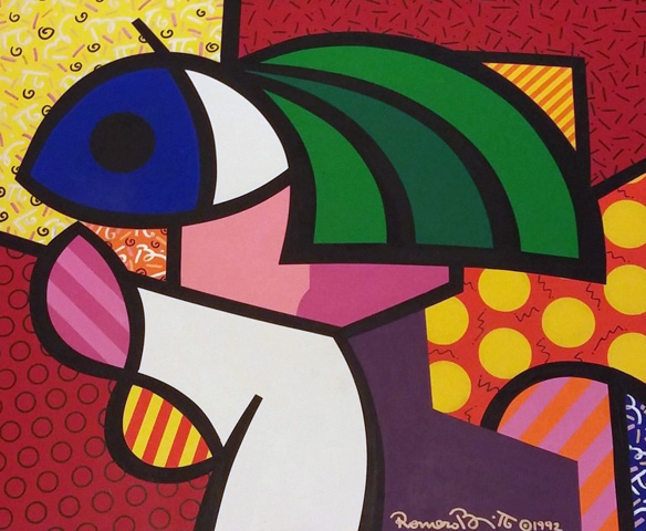 Girl With the Green Hair 1992 24x30 by Romero Britto