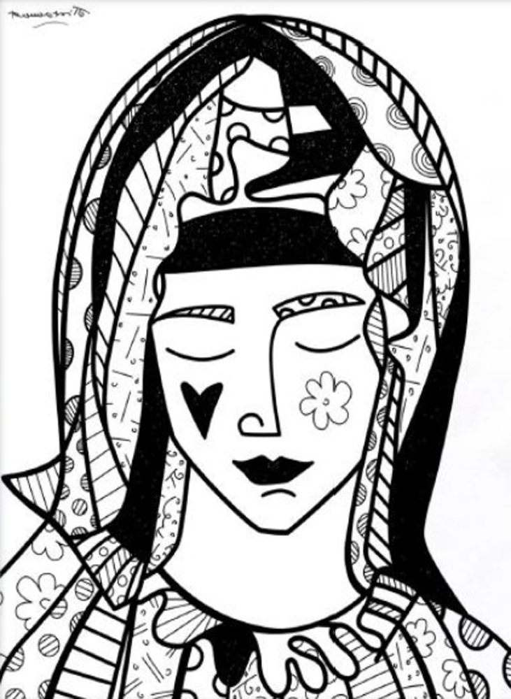 Mother (Black on White) 2014 by Romero Britto
