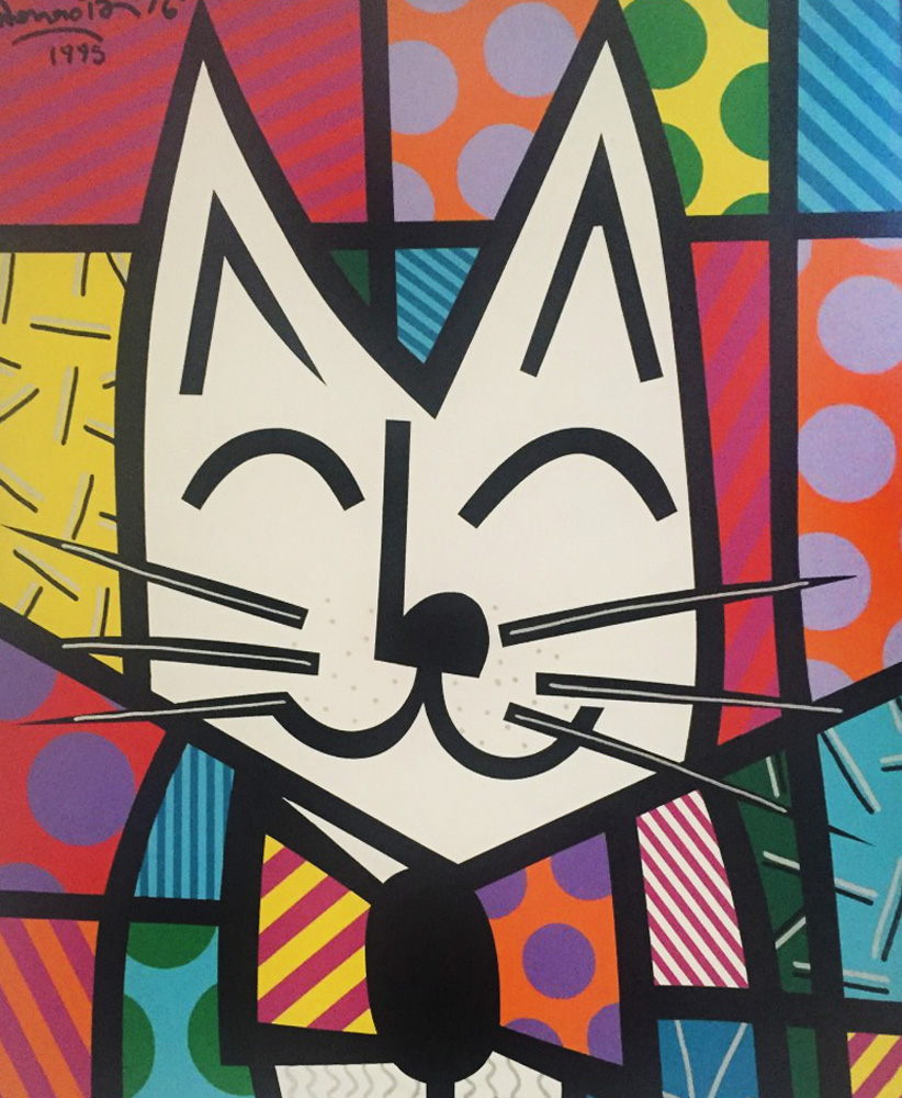Cat 1993 40x36 by Romero Britto