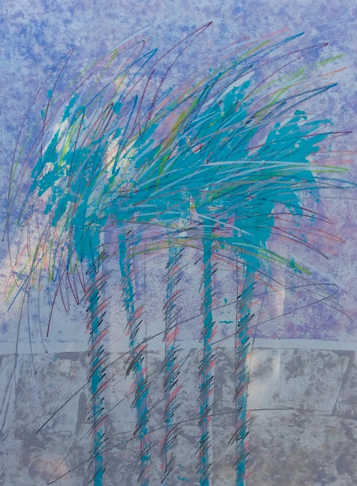 Palm Trees Unique Monoprint 1988