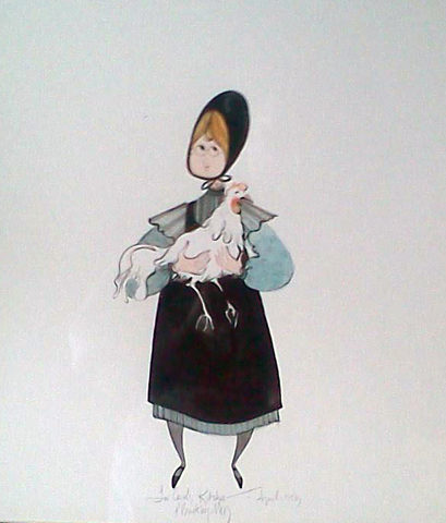 Girl With Chicken Watercolor 1983