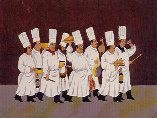 Brigade of 8 Chefs With Poultry, Bottles And Kitchen Utensils 2000