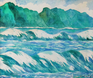 Untitled Seascape Maui Watercolor 33x38 1979 33x38