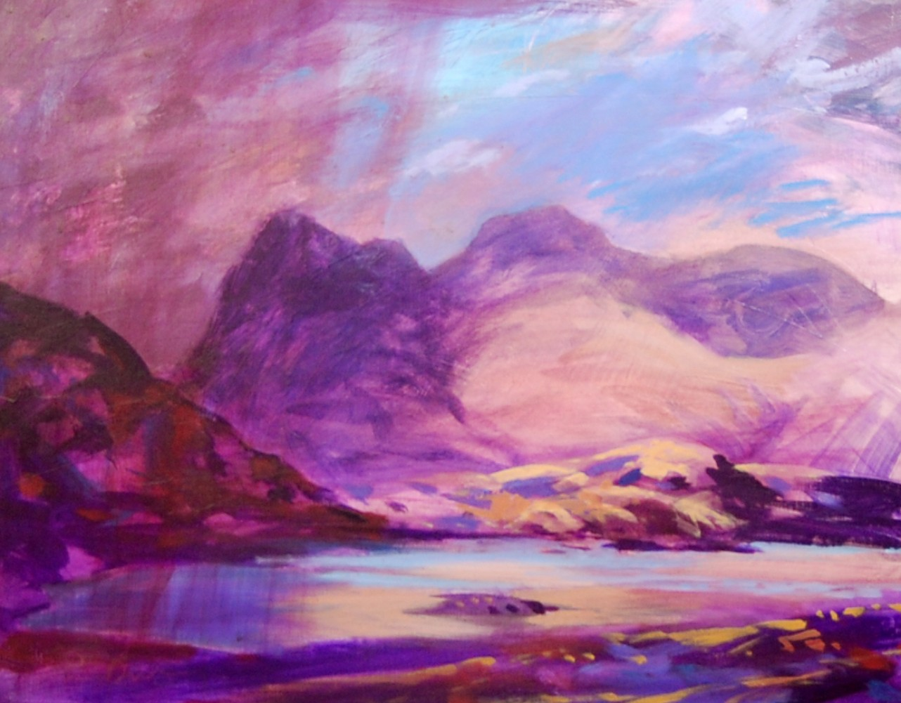 Columns of Rain, Shafts of Light - Langdale Pikes 2001 62x77