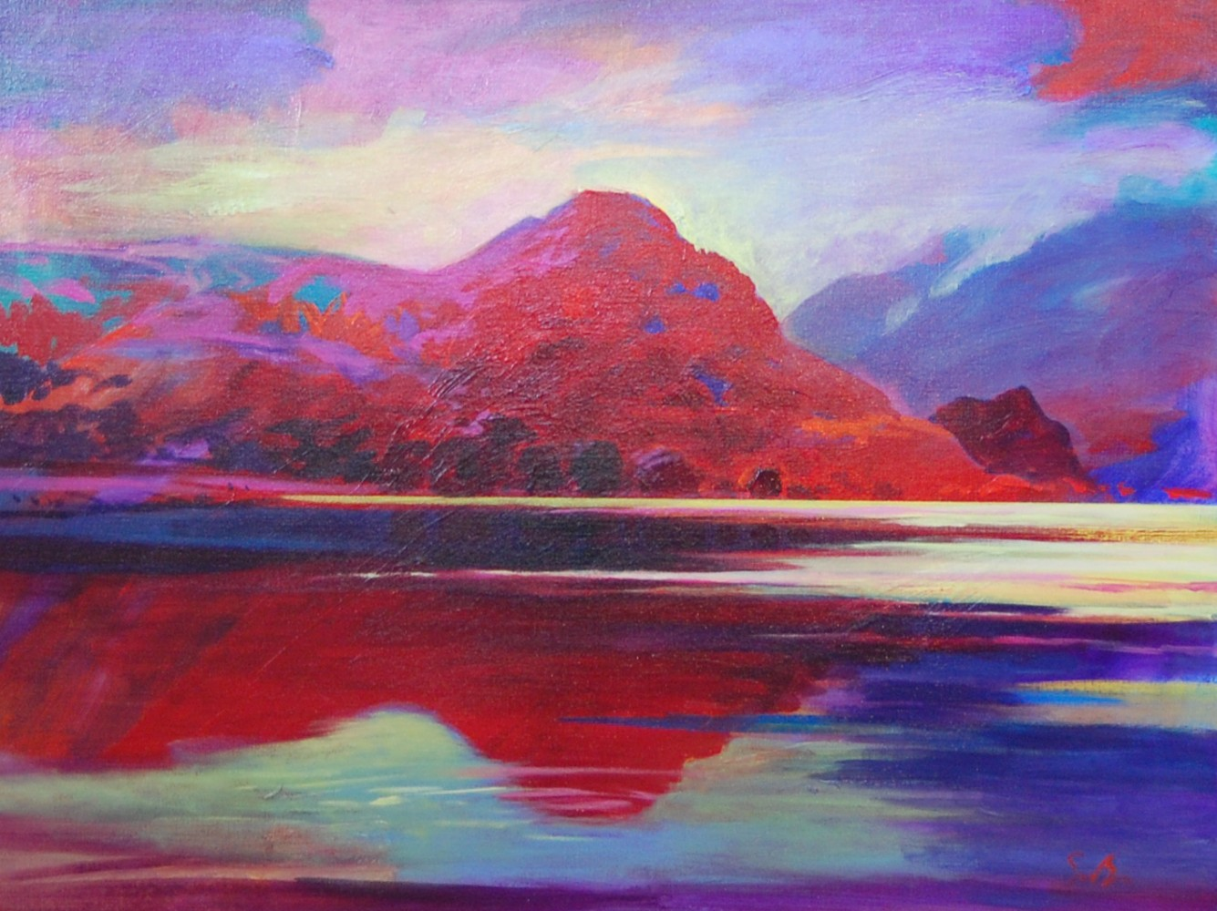 Mirror to the Fells, Derwentwater 2003 30x40 by Simon Bull