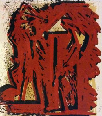 Fallen Figures Unique Monotype 1973