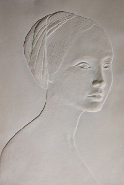 Portrait of a Young Girl Cast Paper Bas Relief Sculpture 1985