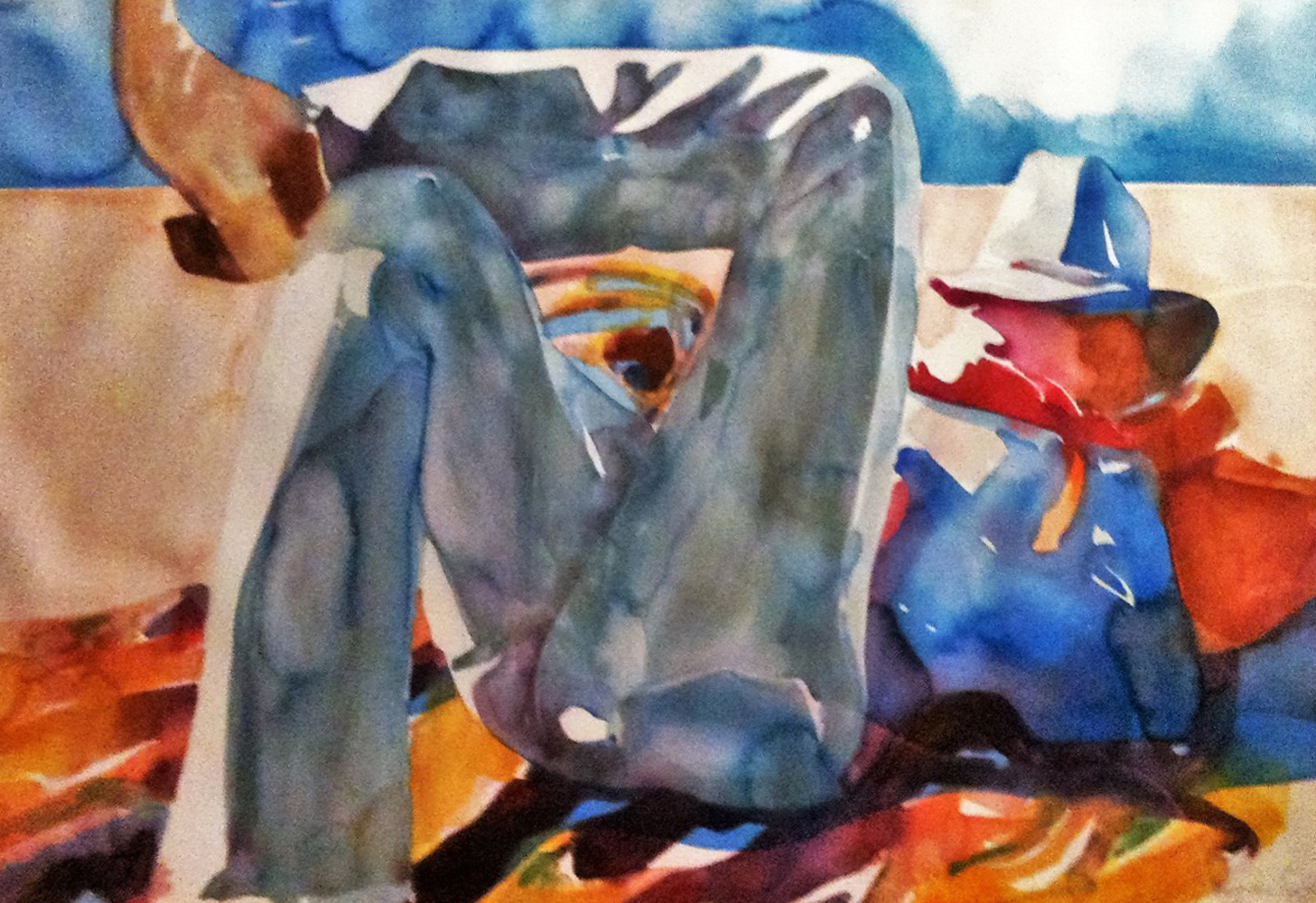 Untitled Western Watercolor 1990  47x30