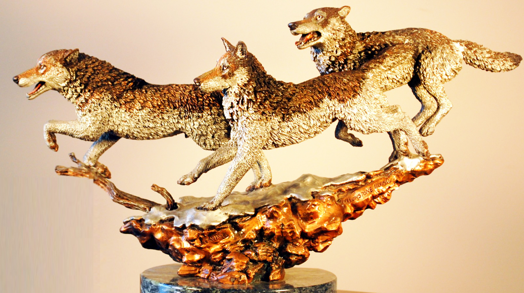 Yellowstone Bound Bronze Sculpture 1992 Wolves  12 in