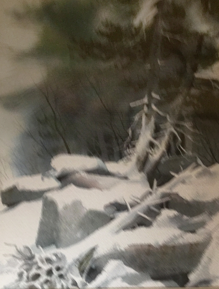 Snowy Ledge Watercolor 1978 27x21