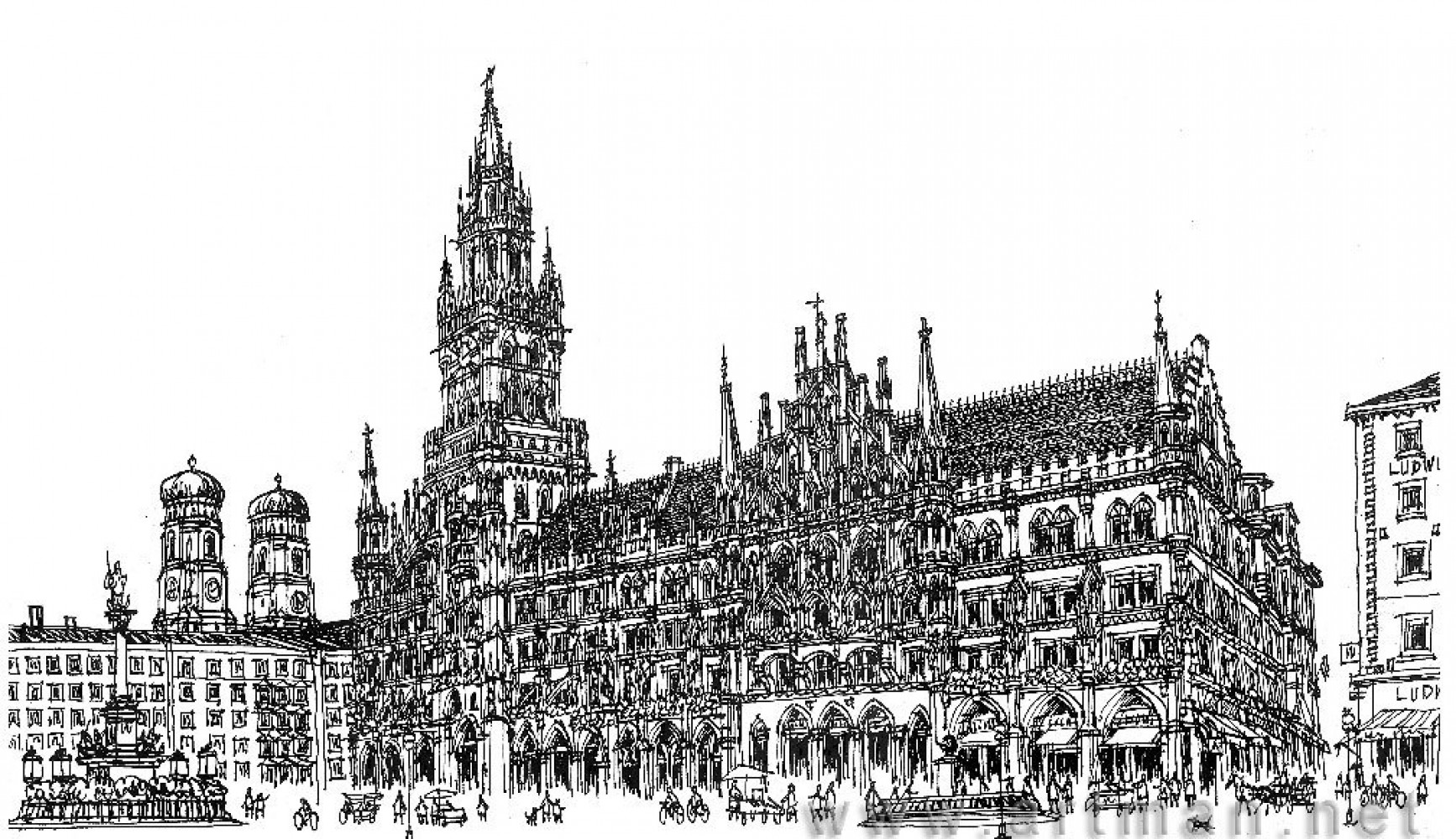 Marienplatz in Munich Drawing 2008 11x17